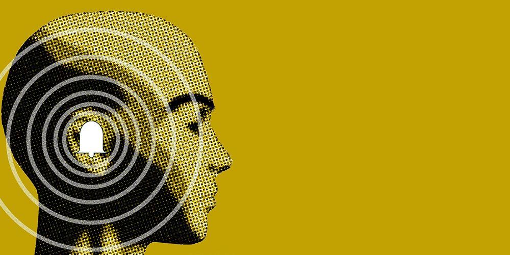 Person med lydsirkler rundt øret. Illustrasjon.