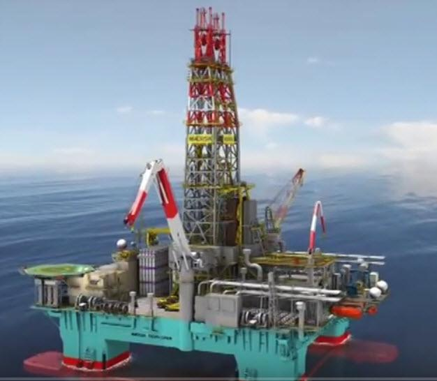 Semi-submersible rig. Foto.