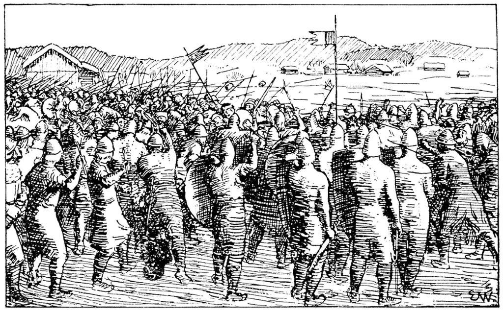 Slaget på Re. Illustrasjon til Magnus Erlingssons saga, Heimskringla 1899-versjonen.