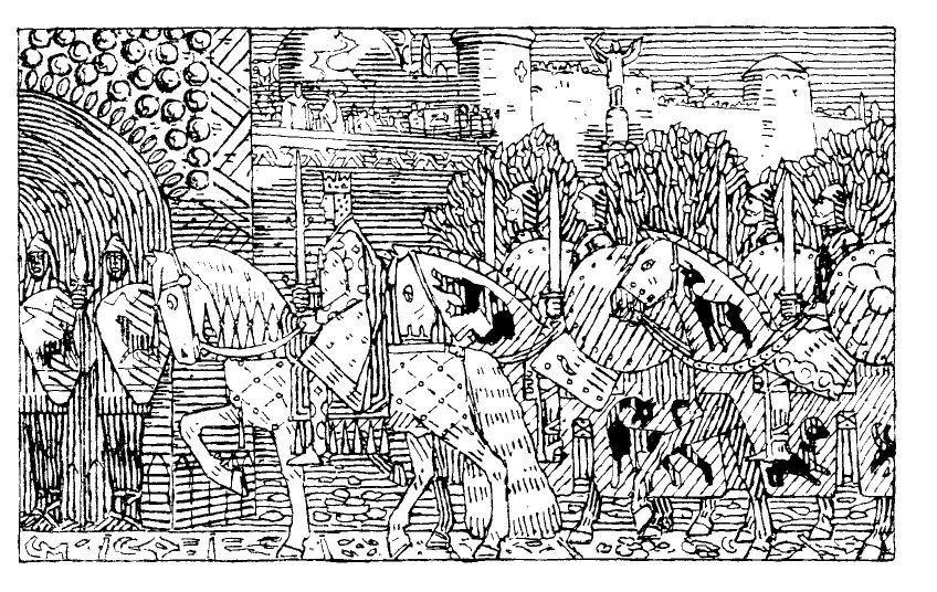 Kong Sigurd og hans menn rir inn i Miklagard. Illustrasjon.