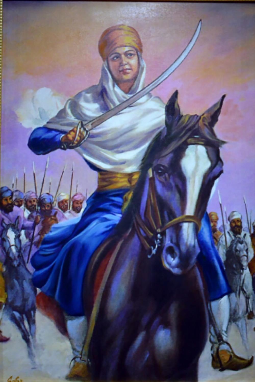 Kvinne med turban og sverd til mest. Maleri.