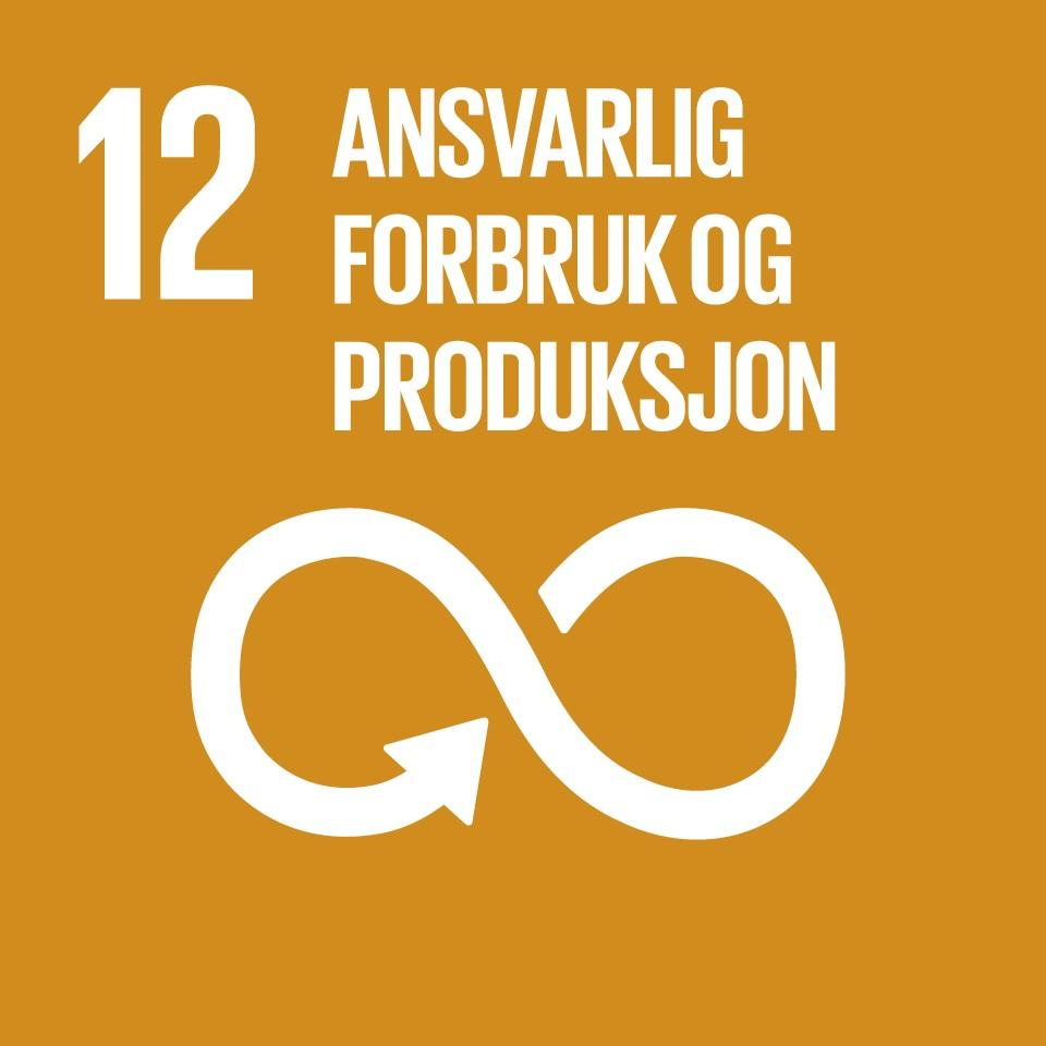 Ansvarlig forbruk og produksjon er FNs bærekraftsmål nummer 12. Grafikk.