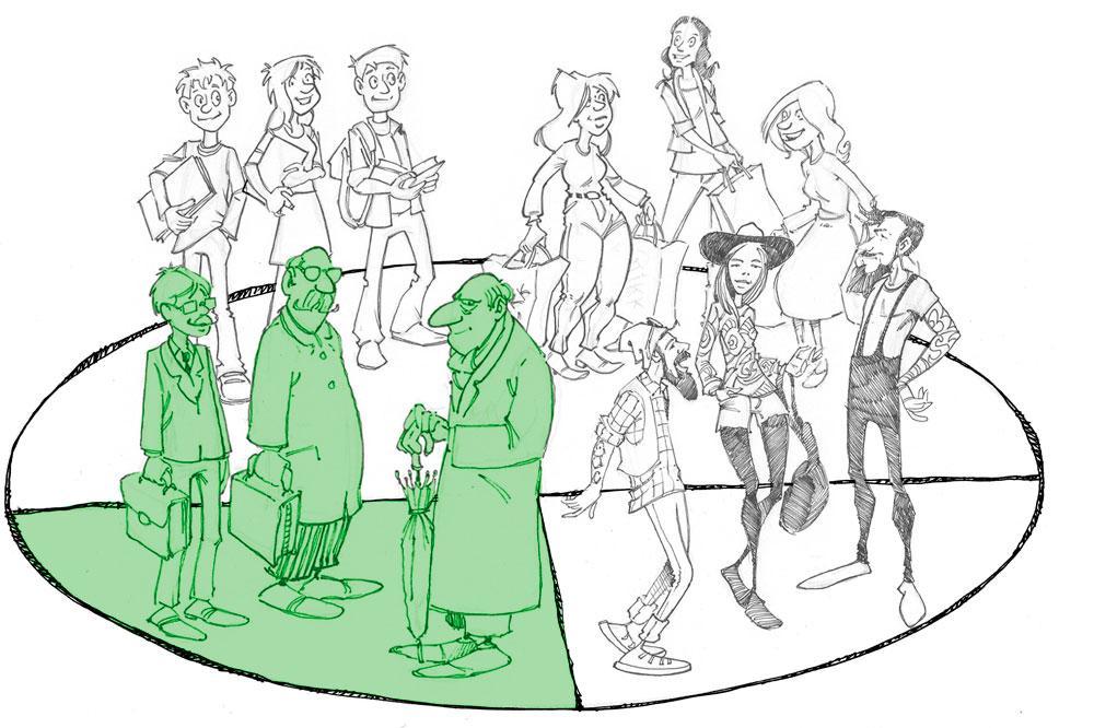 Ulike personer delt inn i målgrupper, en gruppe uthevet i grønt. Illustrasjon.