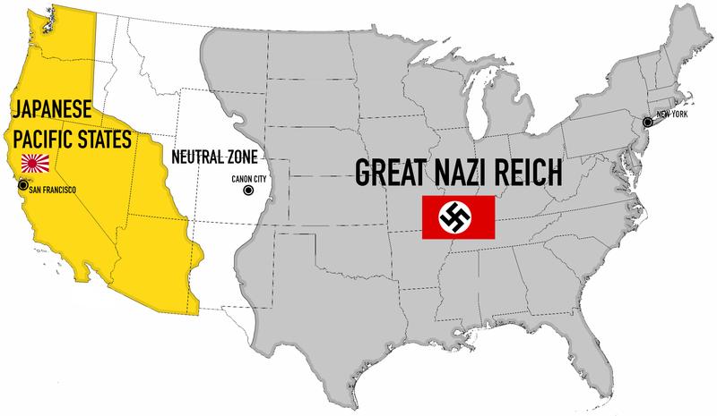 """Kart som viser hvordan Amerika ser ut i den kontrafaktiske tv-serien """"The Man in the High Castle"""". Grafikk"""