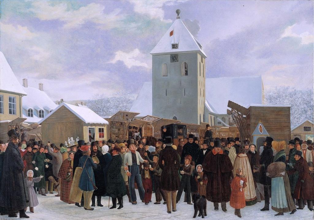 Marked på Stortorvet i Oslo. Maleri fra 1843.