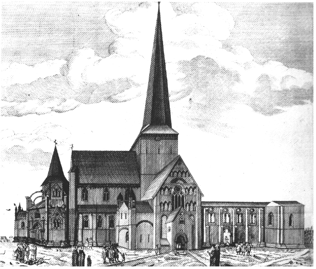 Nidarosdomen 1661. Kobberstikk.