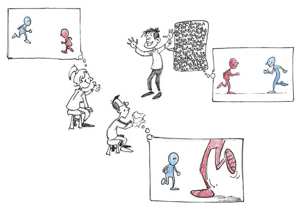 Ulike tanker om et møte mellom to mennesker. Tegning.