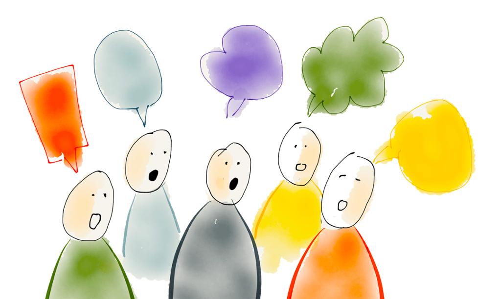 Figurer med ulike snakkebobler. Illustrasjon.