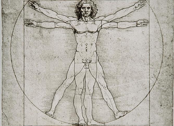 Naken mann med utstrakte armer står i en sirkel og en firkant. Tegning.