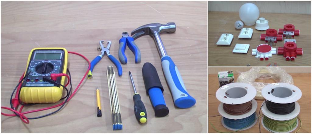 Materiell og verktøy som blir brukt til skjult installasjon.  Foto.