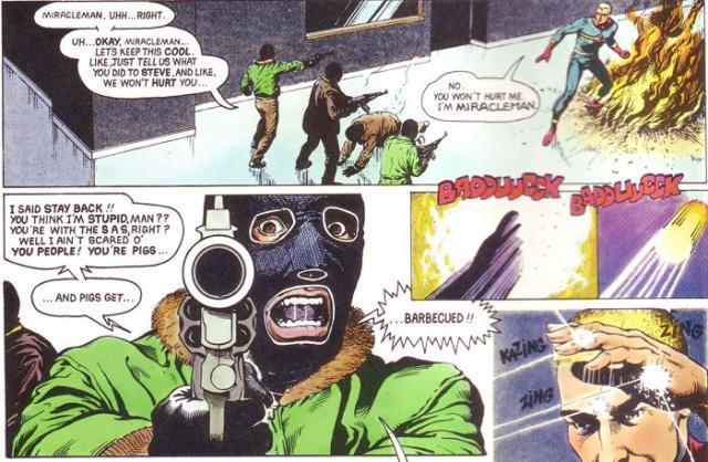 Miracleman tegneserie side. Illustrasjon.