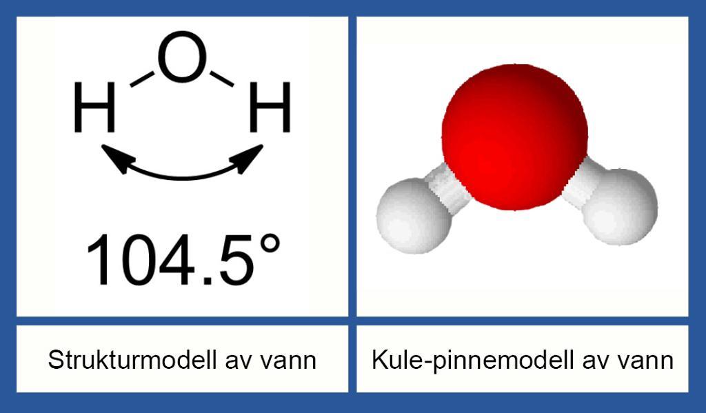 Molekylmodeller av vann. Tegning.