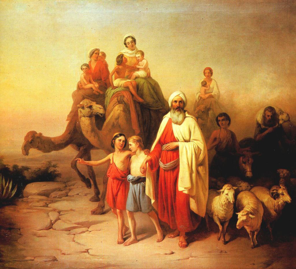 Abraham omgitt av familie og husdyr. Noen sitter på kamel, andre går. Maleri.