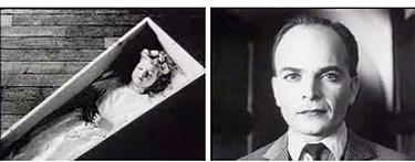 Til venstre et bilete av et barn i en kiste, til høyre et bilde av ansiktet til en mann. Filmutsnitt.