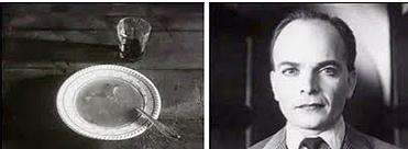 To filmruter. Bildet til venstre viser en suppetallerken, bildet til høyre viser et nærbilde av en mann. Fotomontasje.
