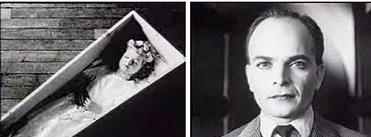 To filmruter. Bildet til venstre viser et barn i en kiste, til høyre er det et nærbilde av en mann. Fotomontasje.