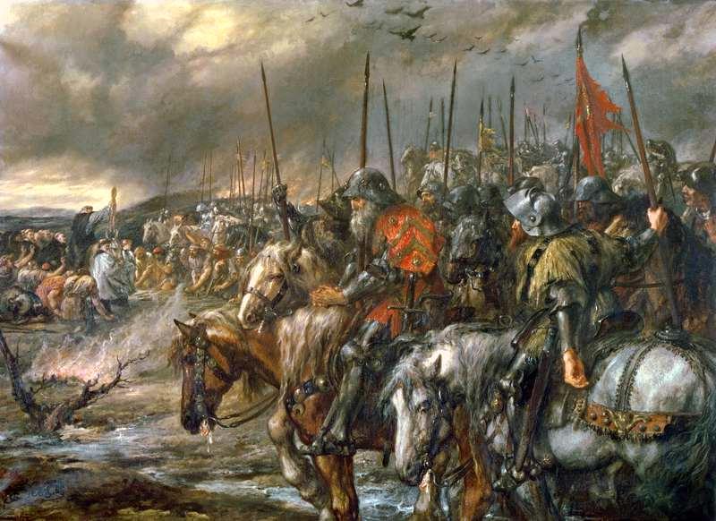 Morgenen for slaget ved Agincourt, 25. oktober 1415, av John Gilbert. Maleri.