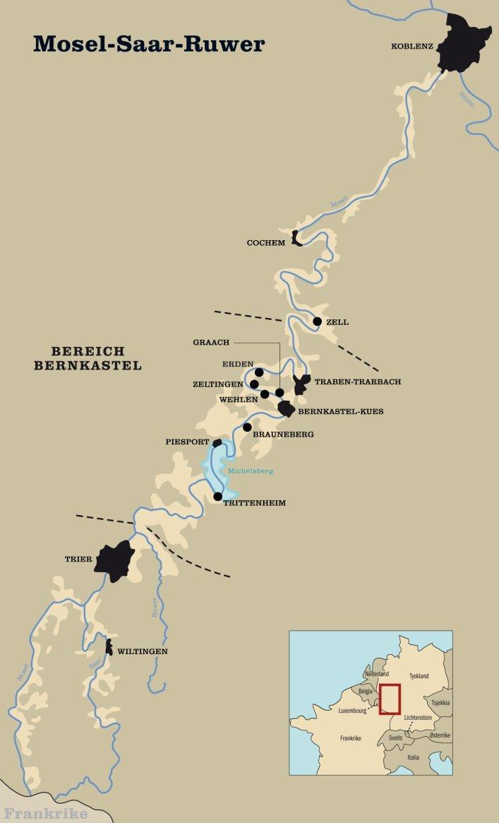 Kart over vindistriktene i Mosel-Saar-Ruwer. Foto.
