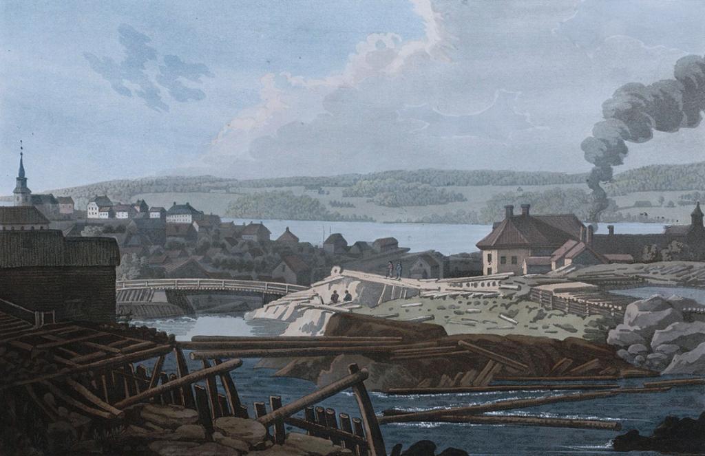 Mossefossen og Moss Jernverk, sommeren 1800. Trykk.