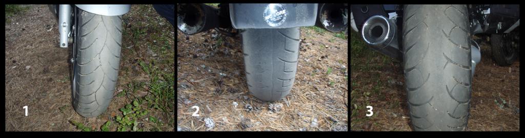 Et forhjul og to bakhjul på motorsykkel. Foto.