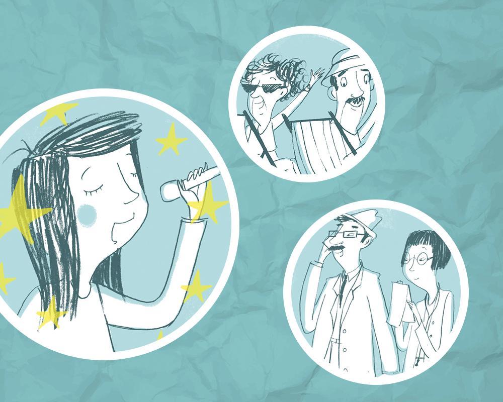 Kollasje som illustrerer yrker. Illustrasjon.