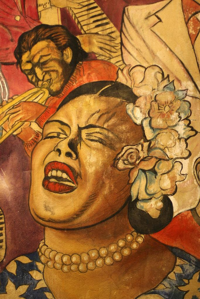 Mural painting of Billie Holiday. Photo.