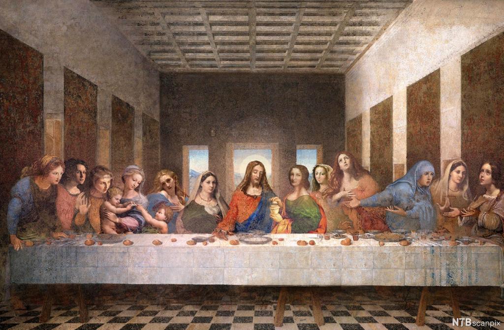 """Manipulert versjon av Da Vincis """"Nattverden"""" – med kvinnelige disipler. Maleri."""