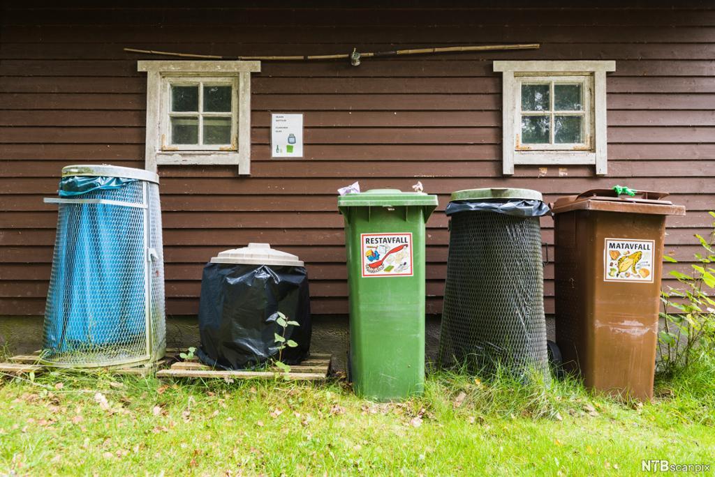 Fem søppelkasser til forskjellig avfall på rad foran en hytte. Foto.