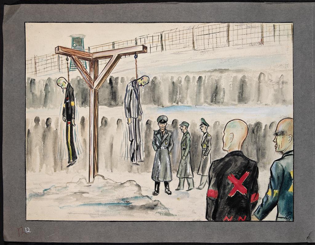 Illustrasjon fra Rudolf Næss' fangalbum med tegninger og akvareller fra fangelivet i konsentrasjonsleire under andre verdenskrig. Bildet viser to fanger som er hengt mens andre fanger og soldater står og ser på. Akvarell.