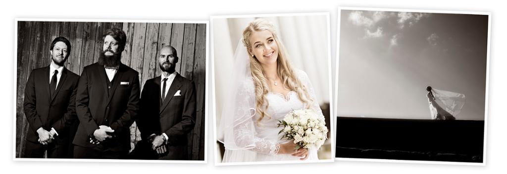 Kollasj med tre bryllupsbilder som viser forskjellig bruk av naturlig lys. Foto.