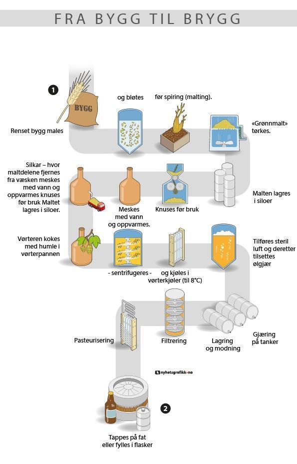 Illustrasjon av produksjonslinjen for øl