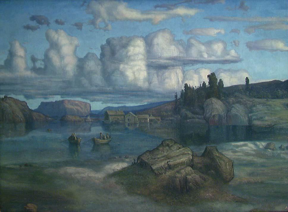 Blætt vestlandsslandsakp, fjord, hus og robåt. Maleri.