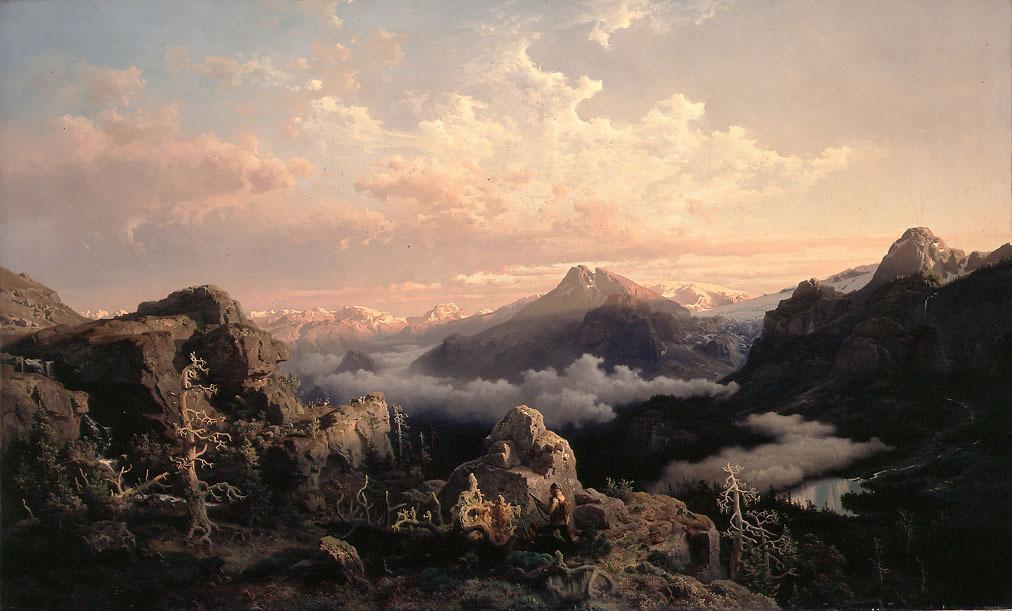 Soloppgang over fjellheimen. Maleri.