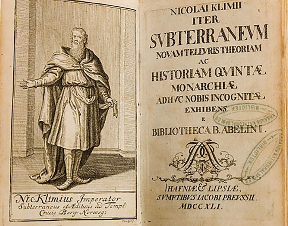 Tittelbladene til romanen Niels Klims underjordiske reise. Faksimile.