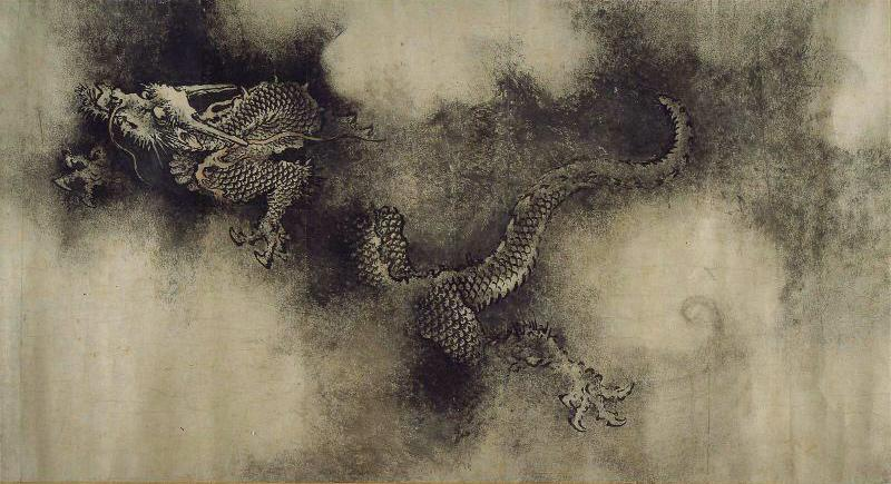 """En av dragene fra maleriet """"Ni drager"""". Foto."""