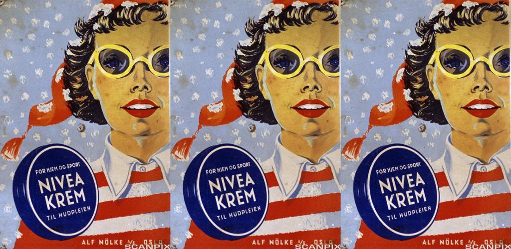 Eldre reklame for Nivea hudkrem. Illustrasjon.