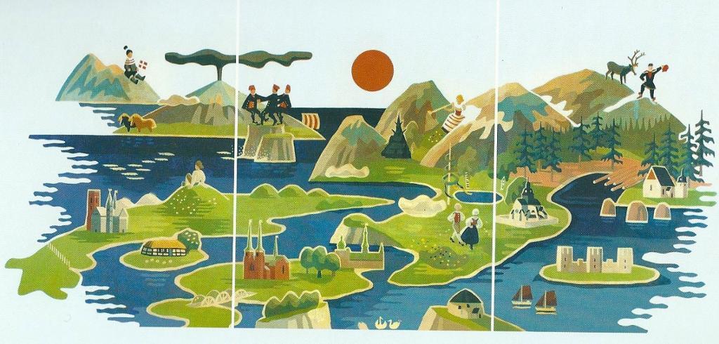 Bildet viser et kart over de nordsike land men kjente bygninger, flagg og mennesker i folkedrakter. Illustrasjon.