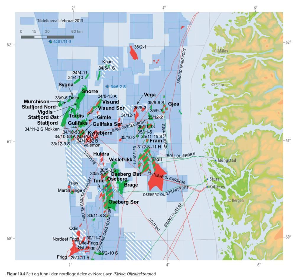 Olje- og gassfelt i den nordlige del av Nordsjøen. Illustrasjon.
