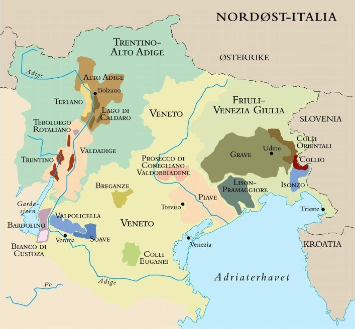 Kart over nordøst-italia. Foto.