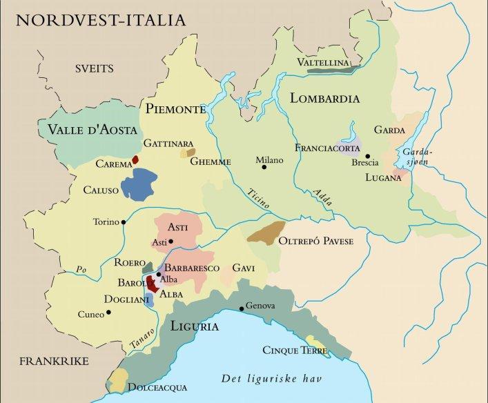 Kart over nordvest-Italia. Foto.