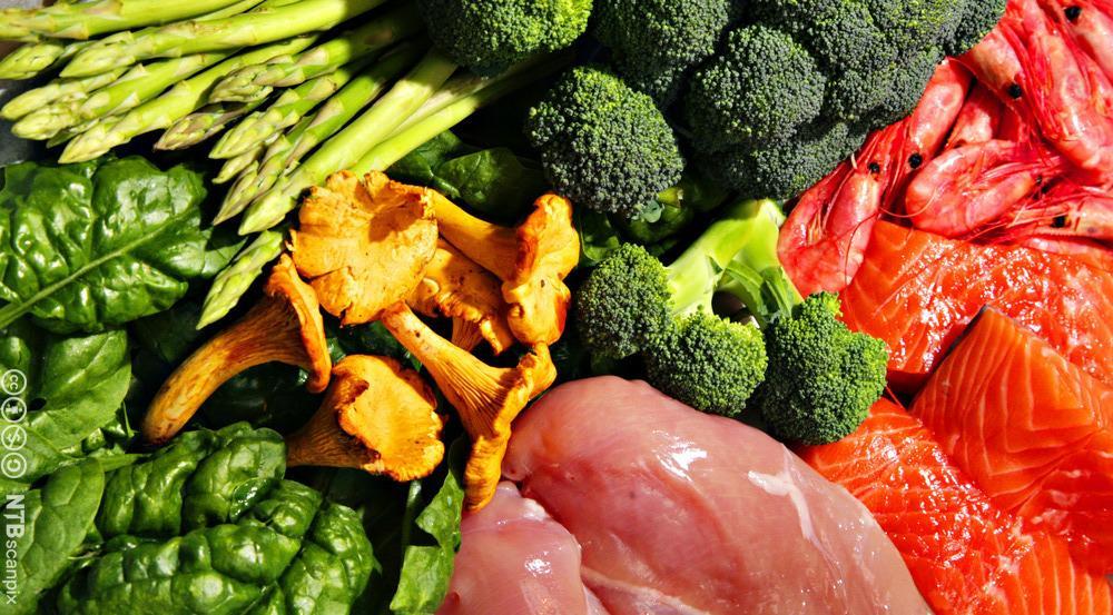 Råvarene kjøtt, fisk og grønnsaker. Foto