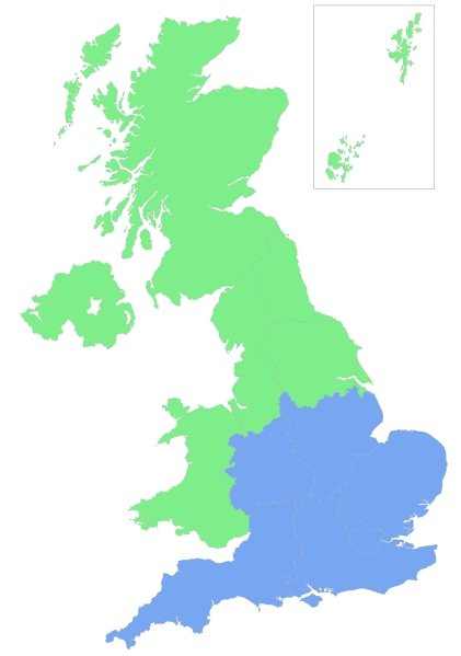 "The North-South Divide. Note that the ""border line"" is much disputed and may vary in different presentations."