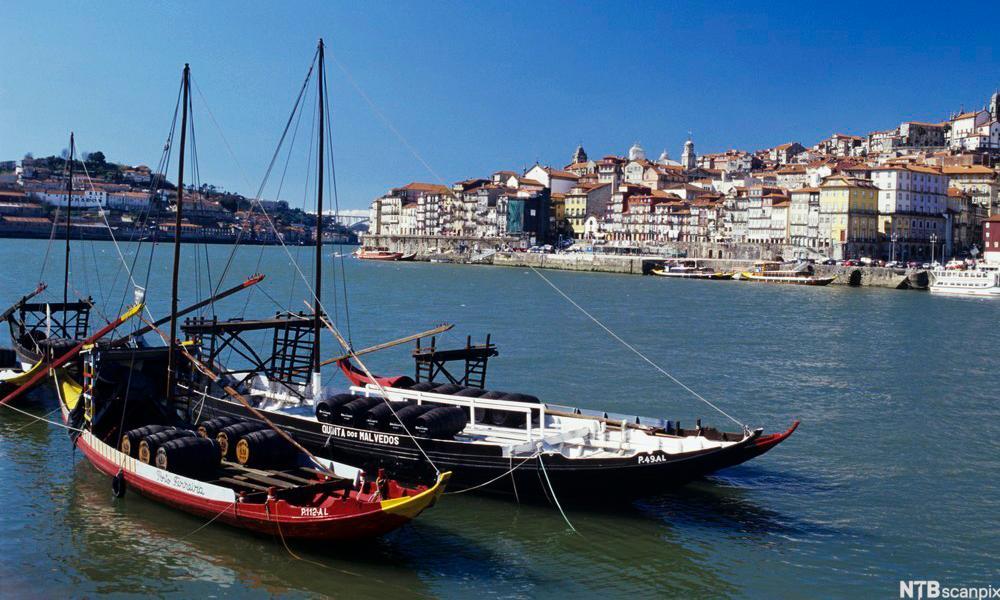 bilde av tradisjonelle portvinsbåter liggendes i havnen i Porto