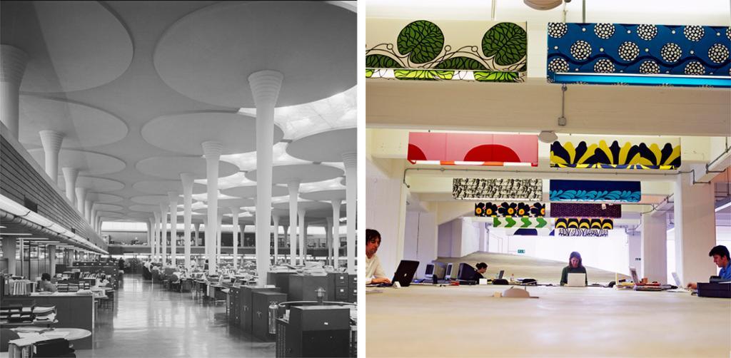 To fotografi av arbeidsplassar i tidleg og sein modernisme. Kollasj.