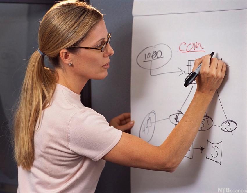 Kvinne skriver på tavle. Foto