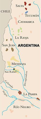 Kart over vinområdene i Argentina
