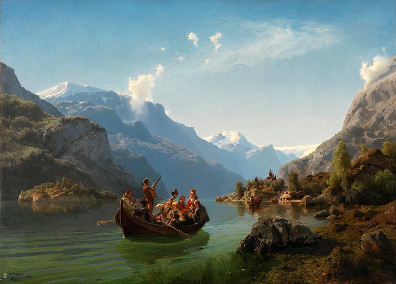 Brudefølge i båt på fjord omgitt av høye fjell. Maleri.