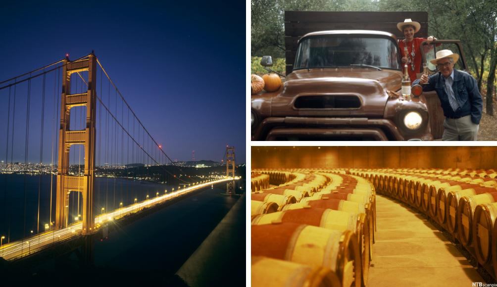 Golden Gate Bridge i San Francisco. Vindyrker John Davis og kone på Schramsberg vingård.