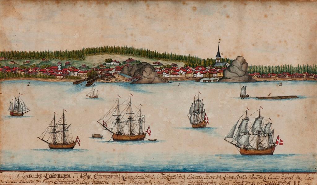 Larvik fra sjøsiden med seks større skip i forgrunn, 1785. Tegning.