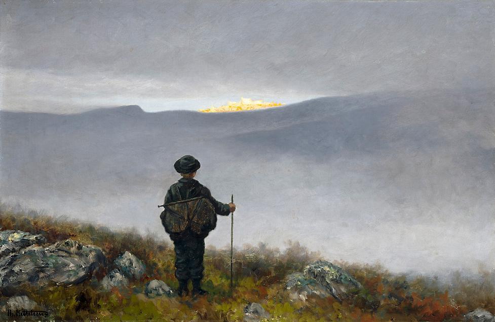 Soria Moria Slott av Theodor Kittelsen. Maleri.